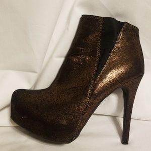 Rock & Republic Bronze colored booties, size 8 1/2